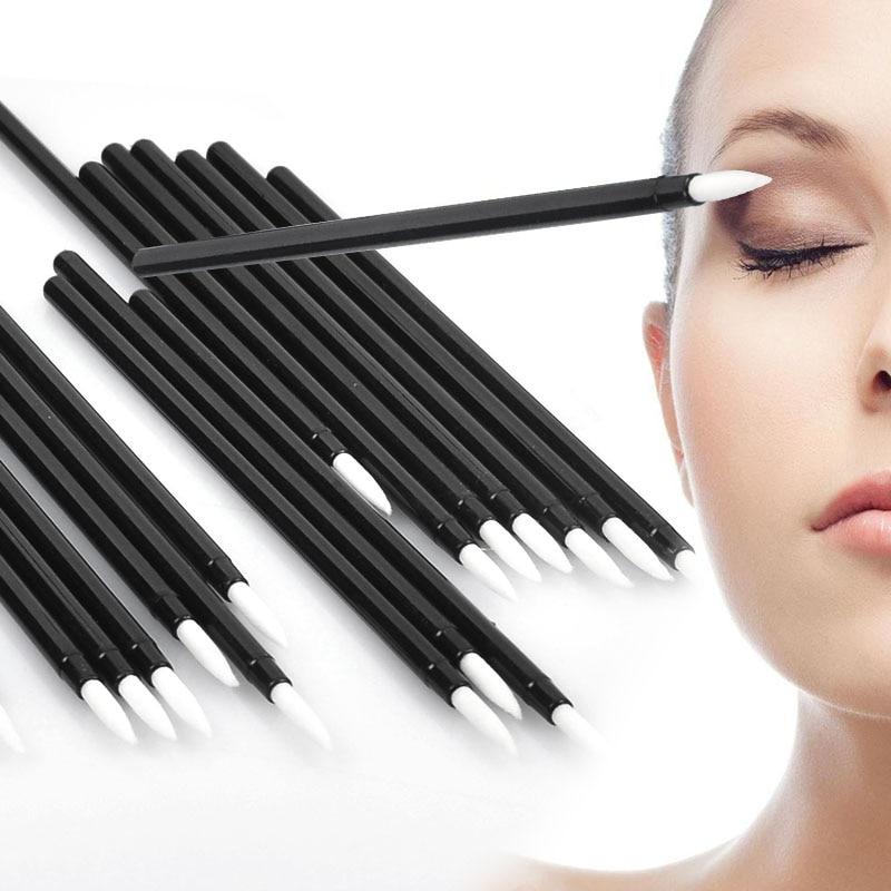 50Pcs/Pack Disposable Eyeliner Liquid Brushes Applicator Swab Microbrush Eyelash Lipliner Extension Tools Black Colors