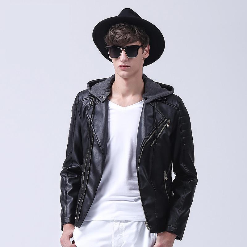 88696649d27 Мужская Кожаная Куртка ПУ Капот Куртка Мотоцикла Мужские Кожаные Куртки И  Пальто черный размер 3XL Зимние Кожаные Куртки Для Мужчин купить на