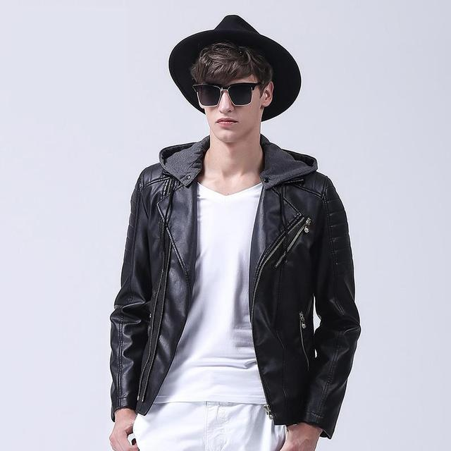 Men Leather Jacket PU Hood Motorcycle Jacket  Mens Leather Jackets And Coats black size 3XL Winter Leather Jackets For Men