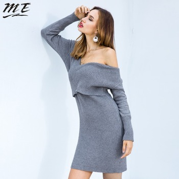 ME 2018 Women Sweater Dress V Neck Long Sleeve Cold Shoulder Bodycon Hip Package Dresses Fashion Warm Office Sweater Vestidos