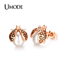UMODE Brand Ladybug Shaped CrystalStud Earrings Rose Gold Color Double Sides Simulated Pearl Earrings For Women