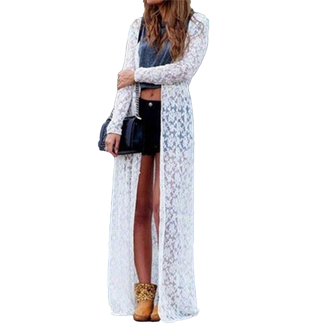 Anself 2019 Winter Women Floral Lace Kimono Cardigan Semi Sheer Plus Size  Solid Open Front Long Blouse Beach Cover Up Blusas 5XL 040b19f19