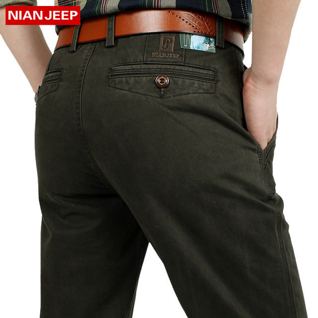 NIAN JEEP Brand Clothing Plus Size 30-44 Men s Straight Pants Full Length  Quality Men Trousers 55 c60ee5608d7a
