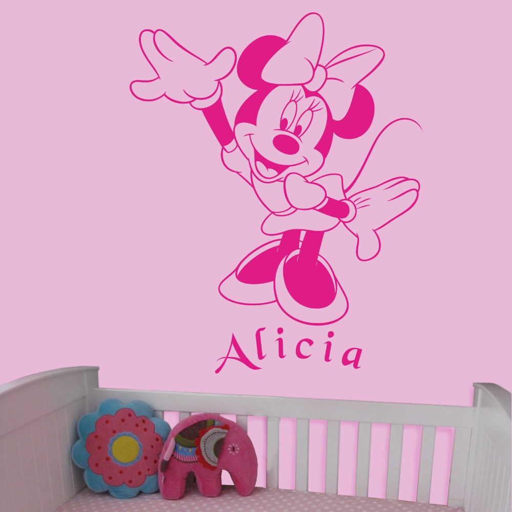 Customize Name Cartoon Girls Room Decoration Wall Decal Minnie Mouse Sticker Cute Kids Nursery Bedroom Poster KW-19