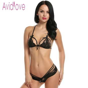 Avidlove Sexy Lingerie Set Women Sexy Two Pieces Hollow Floral Lace Bra and Panty Lingerie Set