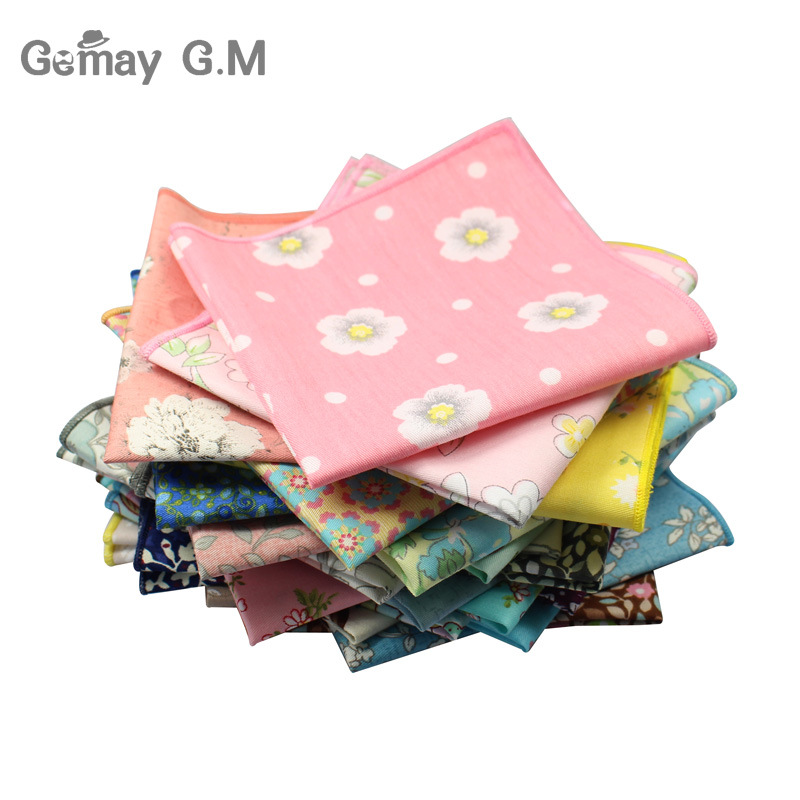 Brand Casual Men's Cotton Handkerchiefs Woven Floral Print Pocket Square Male Wedding Party Handkerchief Soft Towels Hanky