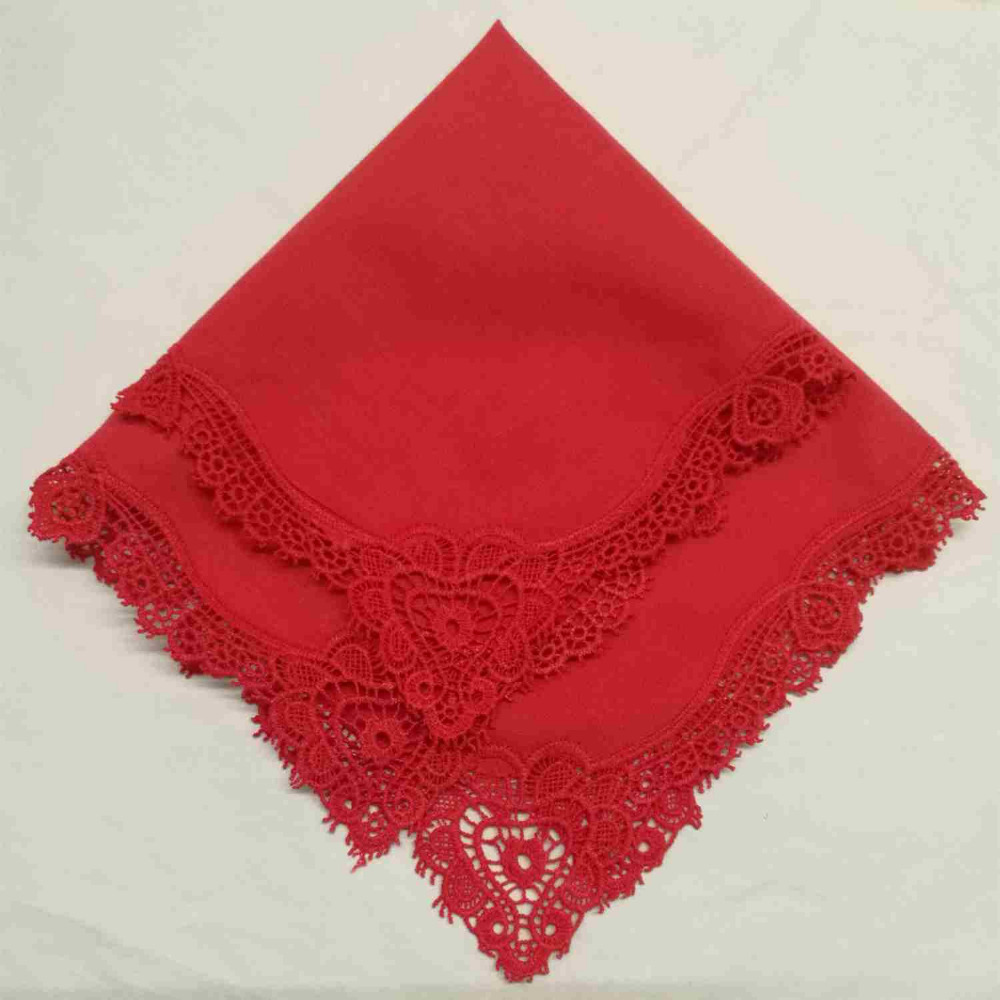 Set Of 500 Fashion Ladies Handkerchiefs Color Cotton Sweet Heart Crochet Lace Wedding Bridal Hankerchief Hankie Hanky 12x12-inch