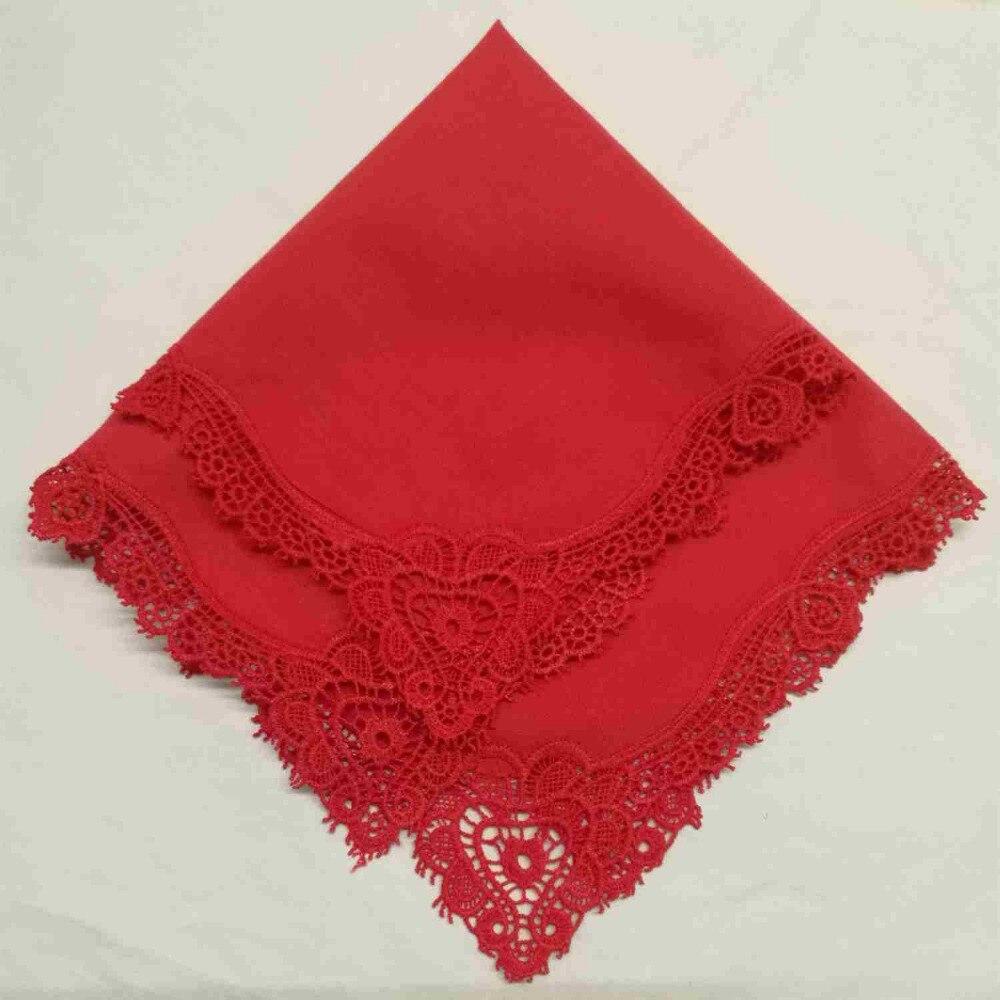Set Of 500 Fashion Ladies Handkerchiefs Color Cotton Sweet Heart Crochet Lace Wedding Bridal Hankerchief Hankie Hanky 12x12-inch
