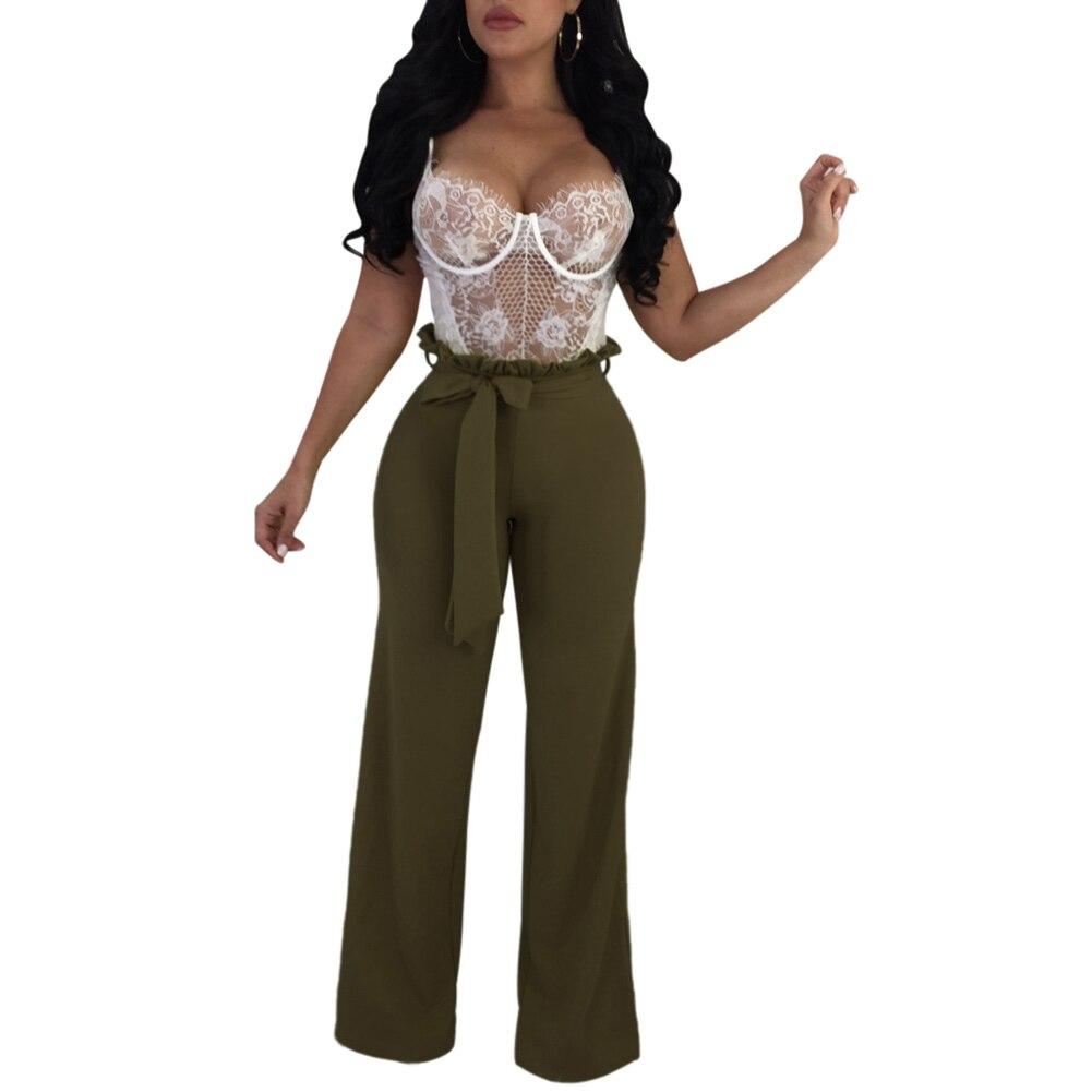 2018 High Waist Belted Zipper Back Palazzo   Pants   Frill High Waist Ruffle   Wide     Leg     Pants   Women Elegant OL Style Trousers Workwear