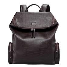 Pabojoe Mens Backpack 100% Genuine Leather Mochila for Laptop 14 Inch 15.6 Inch Notebook Computer Bags School Rucksack