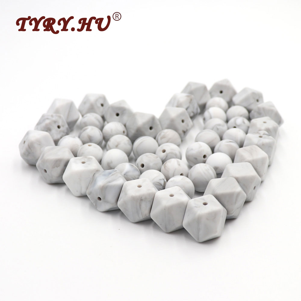 TYRY.HU Original 20pc Marble Color Teething Beads 17mm Hexagon /15mm Round Silicone Beads Chewable Food-Grade Teether Loose Bead