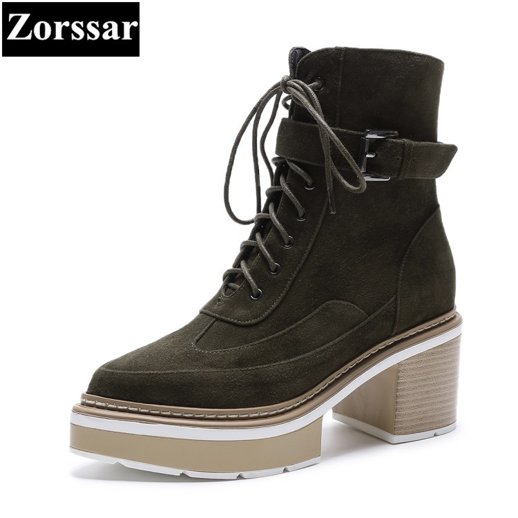 {Zorssar} 2017 NEW ladies big size shoes suede pointed Toe platform High heels Motorcycle boots fashion womens ankle boots heels egonery quality pointed toe ankle thick high heels womens boots spring autumn suede nubuck zipper ladies shoes plus size