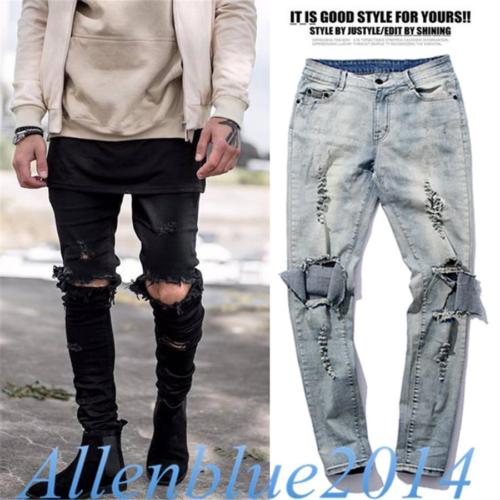 Jeans Pants Distressed Rock-Style Punk Fashion Slim Denim Hole Destroyed Ripped