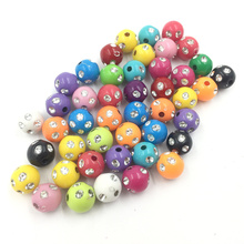 50Pcs Mixed Colourful Spacer Beads Round Pit Without Rhinestones Acrylic Fashion Jewelry DIY Findings Charms 10mm