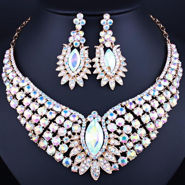Jóias de luxo banhado a ouro colar e brincos set com AB Strass completo Conjuntos de Jóias De Casamento De Cristal