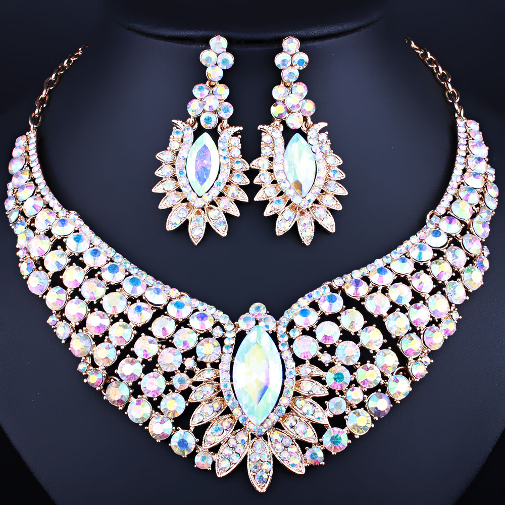Luxury jewelry gold plated necklace and s