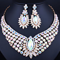 Luxury jewelry gold plated necklace and earrings set with full AB Rhinestones Crystal Wedding Jewelry Sets