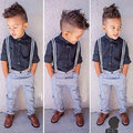 Dress Shirt Top+Sling Trouser Set For Boy Baby Clothes Costume Spring Autumn Children Sport Casual Suit Tracksuit Costume 1-5Y