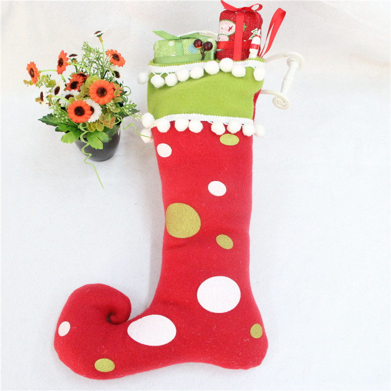 Lovely Large Size Felt Christmas Stocking Elf Foot Xmas Decoration Ornaments Socks Santa Claus Gift Candy Bags For Children In Stockings Gift Holders From