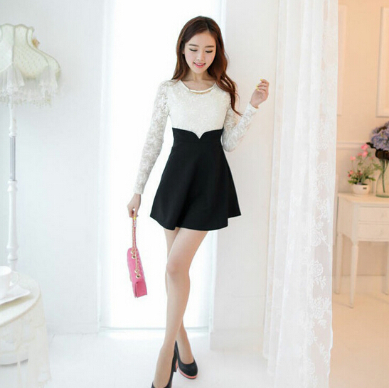 2014 Winter Dress White Lace Top Black Cotton Bottom Mini Vestido