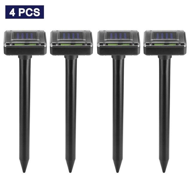4pcs שמש מופעל פשט לדחות קולי סוניק עכבר שומה חרקים הדברת מכרסמים דוחה LED אור Repeller חיצוני מנורת גינה
