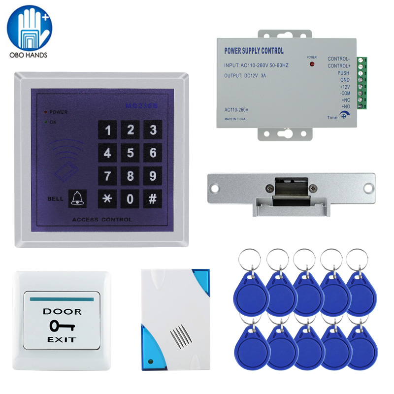 Free Shipping 13.56MHz Full RFID Access Control System Access Control Keypad+Power+Electronic Strike Lock+Door Button+Bell+Keys digital electric best rfid hotel electronic door lock for flat apartment