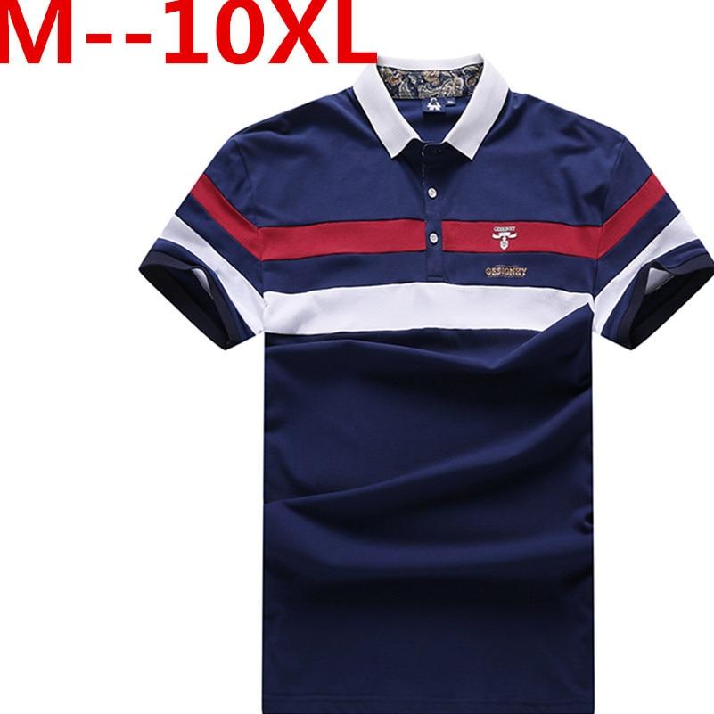 PLus size 10XL 8XL 7XL 6XL 5XL 4XL New Cotton Men   Polo   ralphmen pol shirt t 2018 Casual Striped Slim short sleeves big loose The