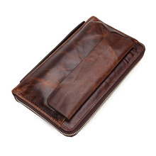 Brand Men Wallets Hot Sell Vintage Genuine Leather Handbag Clutch Purses Phone Pocket Business Cases Credit Card Holders