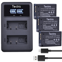 Tectra 3PCS LP E17 Battery + LED Display USB Dual Charger for Canon EOS 200D M3 750D 760D 800D T6i T6s 8000D Kiss X8i