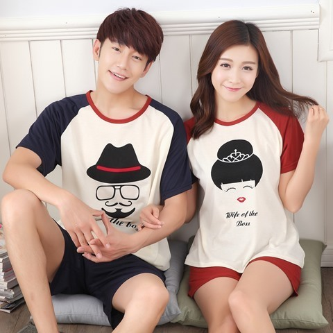 100% Cotton Casual Couple Animal Pajama Set Sleepwear 4