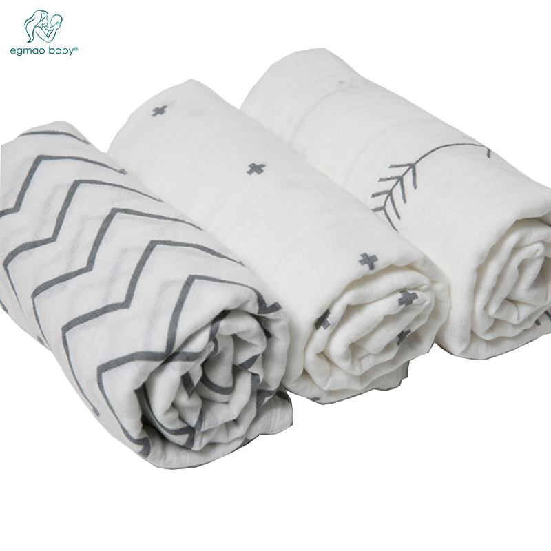 EGMAOBABY 3Pcs Set 120x120cm 100% Muslin cotton Baby Swaddling Blanket,Newborn Infant Swaddle Towel Baby Towel Hold Wraps removable liner baby infant swaddle blanket 100