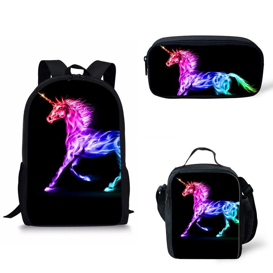 Noisydesigns 3 Pcs Set girl unicorn school bag Backpack Zipper Backpacks School Bag Teenager Girls Book pencil bags Unicorns