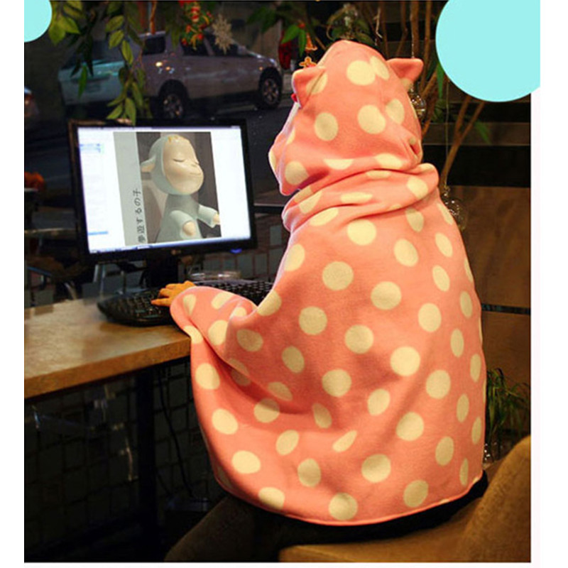 Warm Fleece Travel Blanket with hat for Sofa TV Office