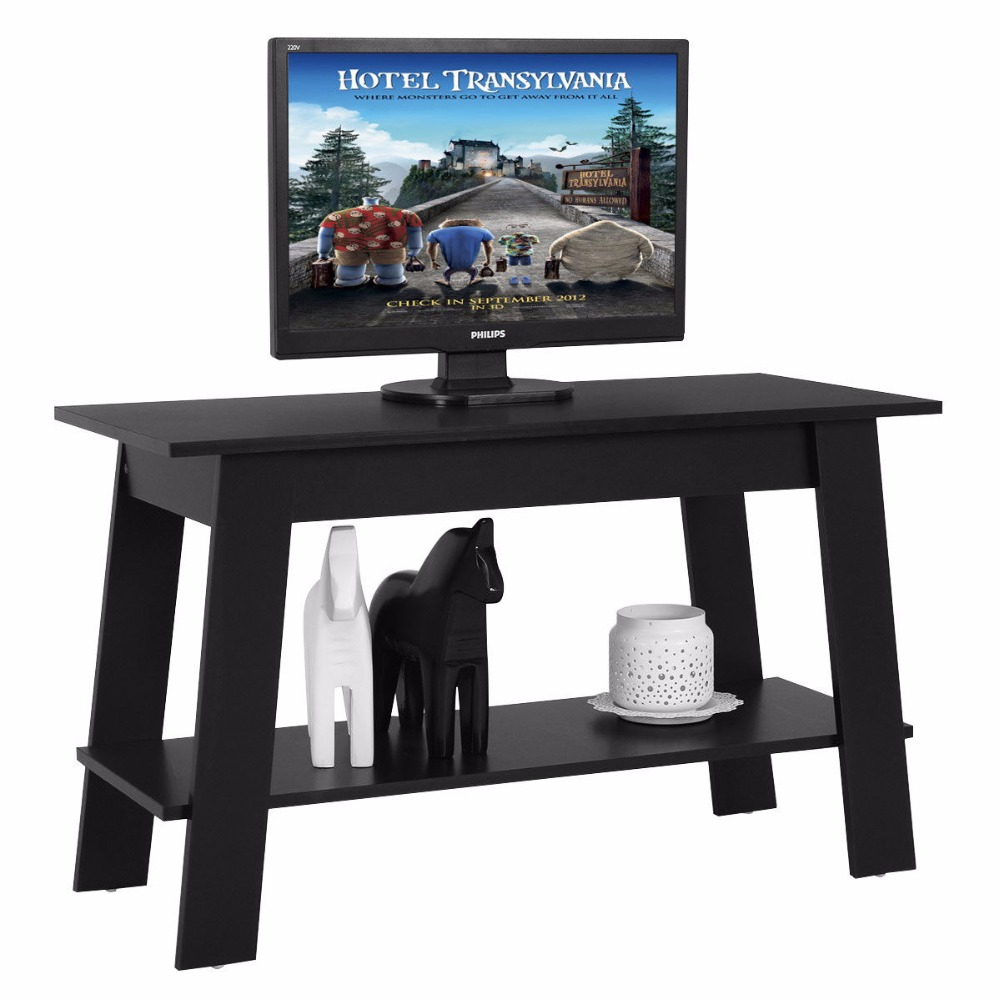 Giantex 2 Tier Elevated TV Stand Coffee Table Multipurpose Storage Console Shelves Modern Wood Living Room Furniture HW54814 leewince hotel trolley coffee tables storage holders multipurpose shelf display rack corner products furniture console tables