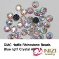 Moda de Cristal E Pedras de Cristal Azul Claro AB Ferro Em Strass Rodada Vidro Flatback Strass Hotfix DMC Para Projetos Do Casamento