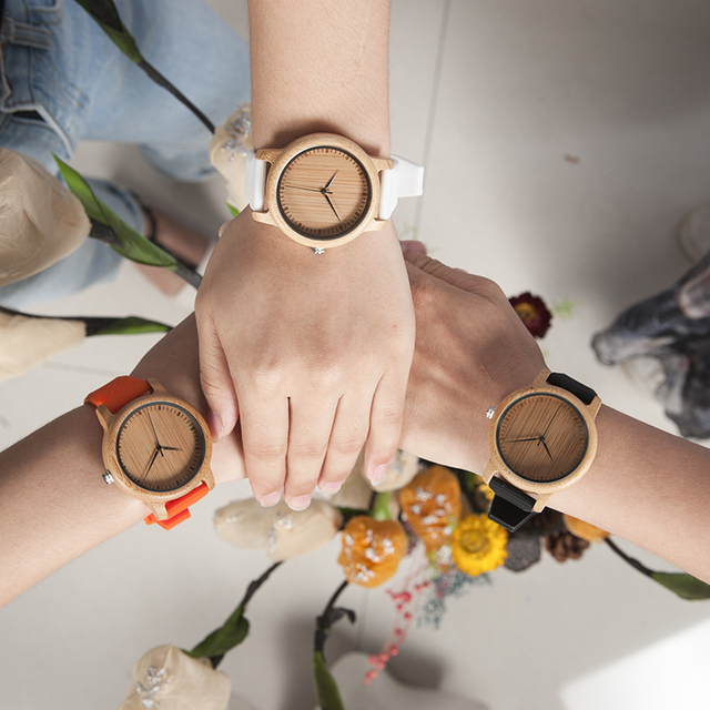 BOBO BIRD Women Watch Bamboo Wood Timepieces Silicone Straps relojes mujer marca de lujo Great Wrist Watch for Girls Accept Logo