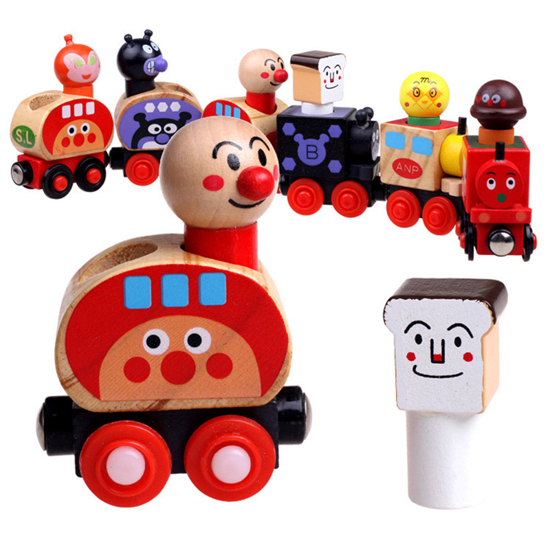 Anpanman Trains Set Magnetic Van For Carrying People Train Children Wooden Toys Magnetic Vehicle Blocks Kids Educational Toys