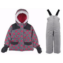 Boys and girls thick winter thickening cold and windproof two-piece children's high-end windproof suit цены онлайн