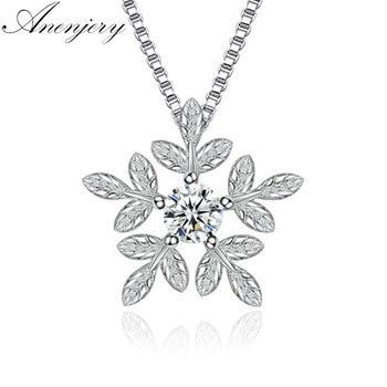Collar de plata de ley 925 de anenjary, colgante de copo de nieve con circonita cúbica para mujer, collar de cadena de regalo, collares kolye S-N142