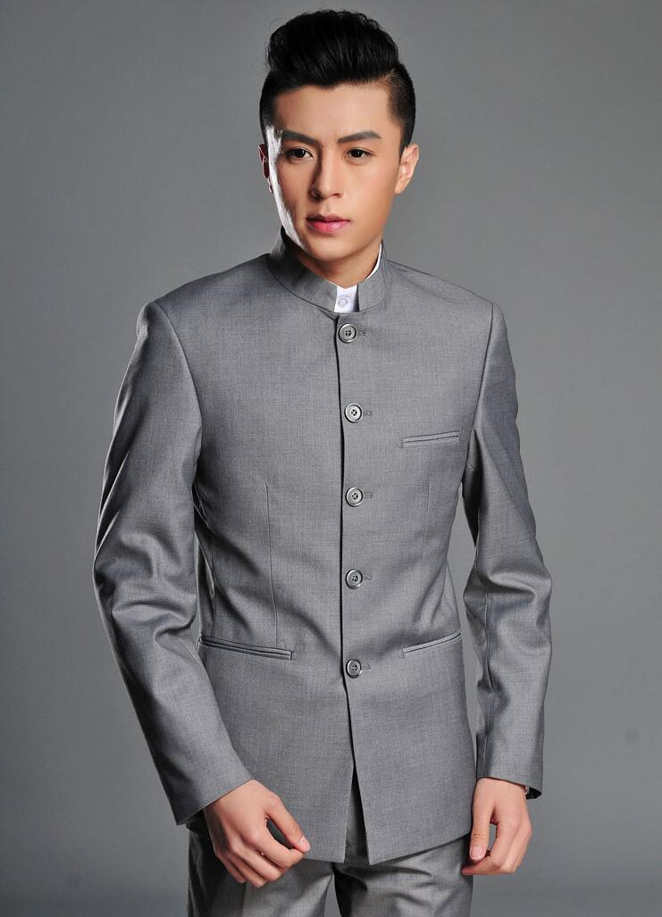 Blazer Men Formal Dress Latest Coat Designs Chinese Tunic Suit Men Marriage Wedding Suits For Men's Stand Collar Grey Business