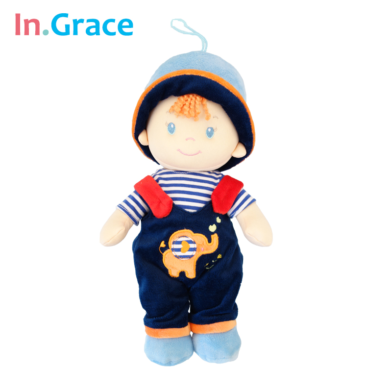 In.Grace cute sweet baby dolls plush and stuffed dolls for baby boy 2 colors baby toy safe material baby sleep calm dolls 30cm kawaii baby dolls