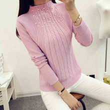 Autumn Winter New Fashion Half Turtleneck Women Sweaters High Elastic Beading Knitwear Long Sleeve Slim Pullover Tops 62807(China)