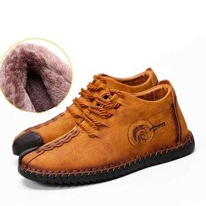 Image 2 - Теплые зимние кожаные брендовые удобные мужские ботинки на шнурках, однотонные кожаные ботинки, кроссовки для мужчин, лидер продаж, лоферы, повседневная обувь