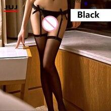 цены Hot Sexy Garter Belt Stocking Set Women Stockings Sheer Net Lace Tighs Top Over Knee Erotic Nylons Lingerie Garter Pantyhose
