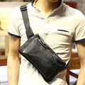 Men Fashion Pu Leather Shoulder Bag Trending Oil Wax Leather Men Crossbody Bag Coffee Chest Pack