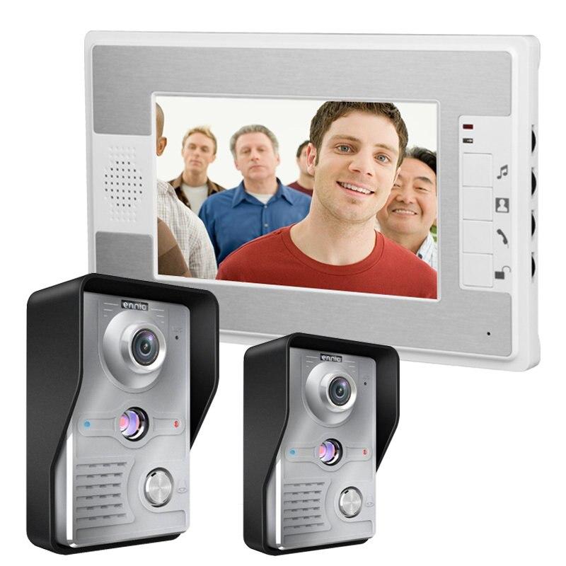 Speakerphone Intercom 2 camera+1 monitor 7'' TFT Color Video door phone Intercom Doorbell System Kit IR Camera