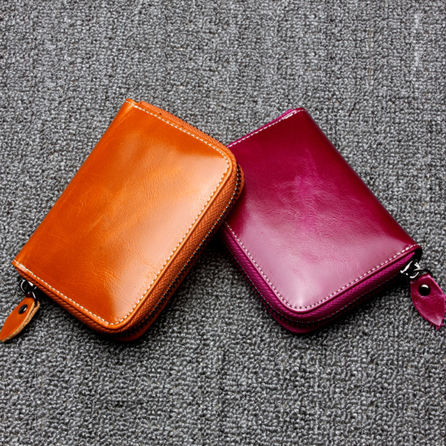 Oil Wax Of Genuine leather women's short design wallet Card Holder fashion classic First Layer Cow purse female Wallets Cowhide