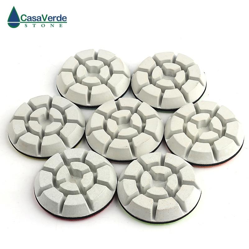 Tampons abrasifs blancs de plancher de diamant humide de 3 pouces pour polir le marbre concret de granit