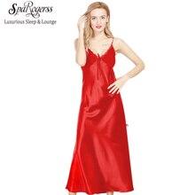 Long Nightgowns Women 2017 Brand SpaRogerss Ladies Faux Silk Split Long Dressing Gowns Summer Sexy Woman