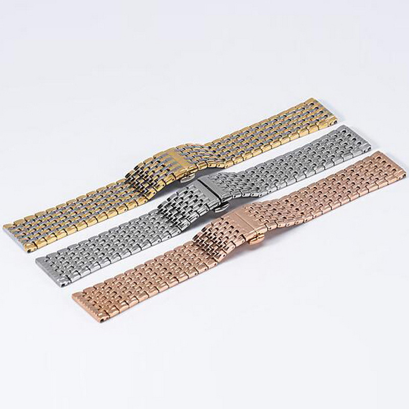 High Quality Butterfly Clasp Watchband 18mm 20mm 22mm 24mm Stainless Steel Watch Band Strap Men Silver Rose Gold Bracelet solid scrub stainless steel brushed black gold silver rose gold finished watch band clasp buckle watchbands 16 18 20mm 24mm 26mm